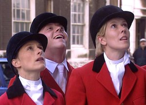 "Amelia Bullmore, Simon Pegg and Julia Davis as 'Showjumpers' in ""Big Train"""