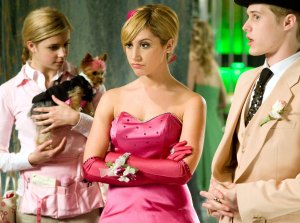 "Jemma McKenzie-Brown as 'Tiara Gold', Ashley Tisdale as 'Sharpay Evans' and Lucas Grabeel as 'Ryan Evans' in ""High School Musical 3"""