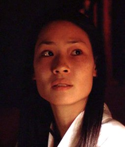 "Lucy Liu, playing 'Kim Hsin' in ""The X-Files"" (S3)"