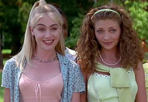 "Portia de Rossi as 'Sorority Sister Murphy' and Rebecca Gayheart as 'Sorority Sister Lois' in ""Scream 2"""