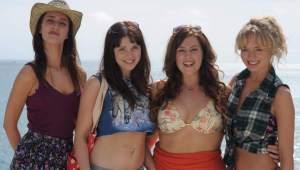 """Jessica Knappett as 'Lisa', Tamla Kari as 'Lucy', Lydia Rose Bewley as 'Jane', and Laura Haddock as 'Alison' in """"The Inbetweeners Movie"""""""